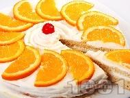 Рецепта Домашна бяла желирана торта с портокали и сметана